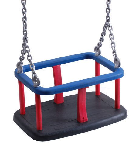 Rubber baby swing seat with metal insert + Galvanized metal chain set 6 mm 1,8 m