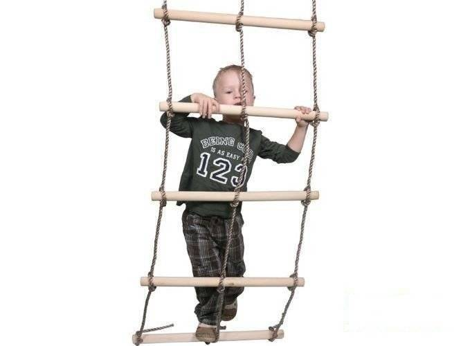 Double rope ladder with 7 wooden rungs heavy