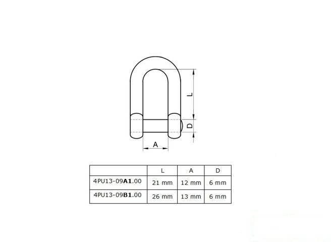 Metal shackle M6 24x13 mm galvanised