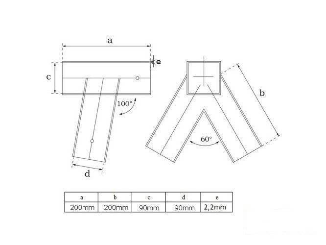 Metal swing corner square 100 angle 90-90