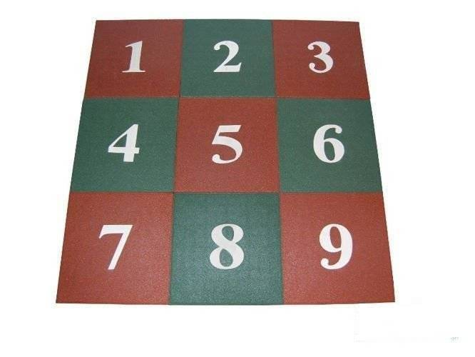 Numbers on rubber mates 50x50x25 mm red-green