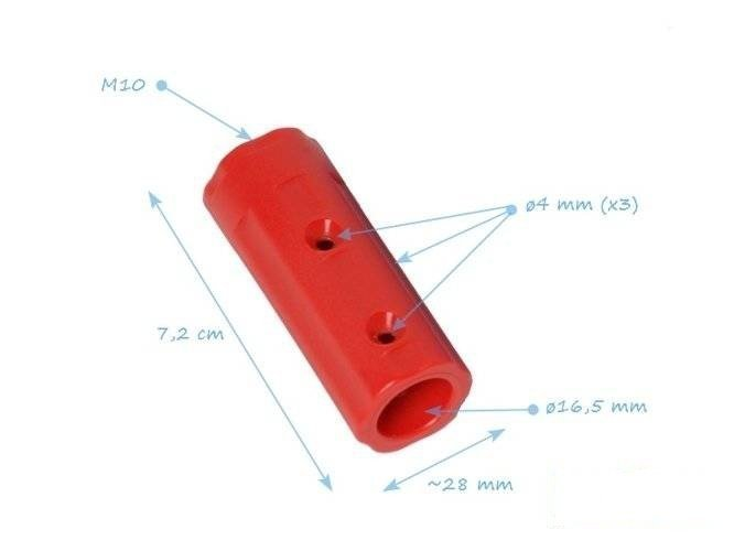 Plastic connector16 mm with thread M10