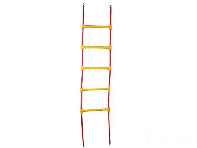 Reinforced rope ladder with 5 plastic rungs