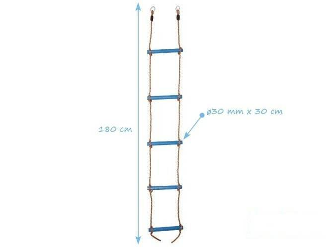Rope ladder with 5 plastic rungs