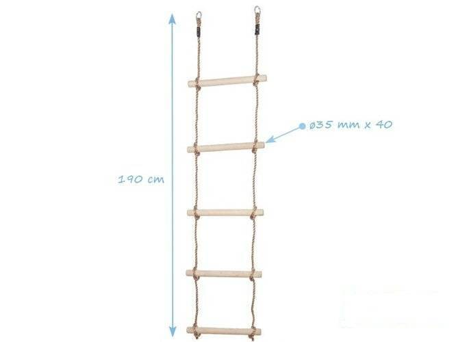 Rope ladder with 5 wooden rungs