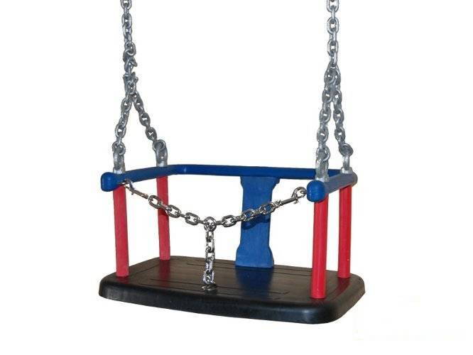 Rubber baby swing seat witch metal insert + Galvanized metal chain set 5 mm 1,8 m