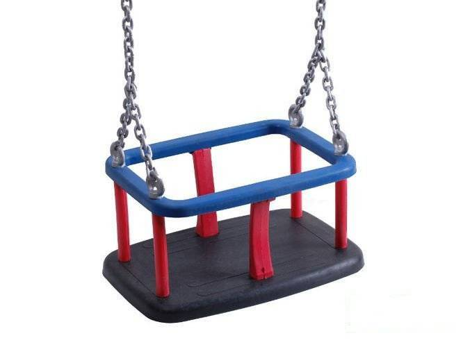 Rubber baby swing seat with metal insert + Stainless steel chain set 5 mm  1,8 m