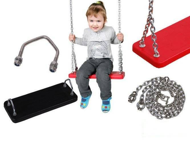 Rubber seat with metal insert + Stainless steel chain set 6 mm 1,8 m