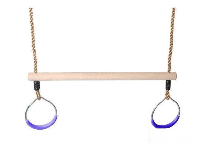 Wooden Trapeze bar with metal round rings